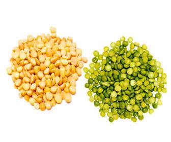 Arvejas verdes y amarillas partidas