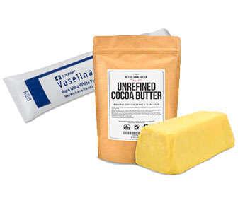 manteca de cacao, karite y vaselina para curar los labios cortados