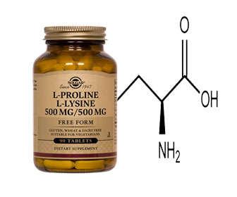 prolina y lisina en pastillas