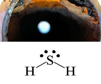 Estructura química del sulfuro de hidrógeno también llamado ácido sulfhídrico